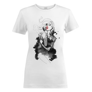t-shirt bianca donna rossetto