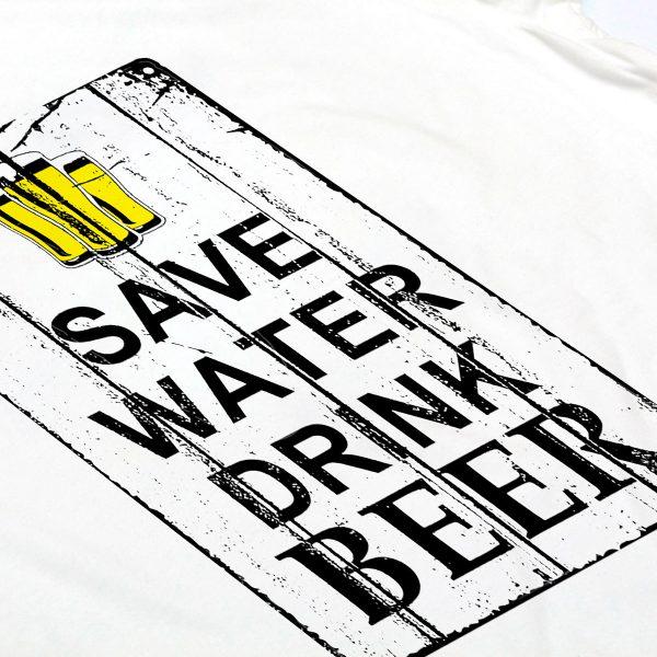 t-shirt bianca uomo save water drink beer