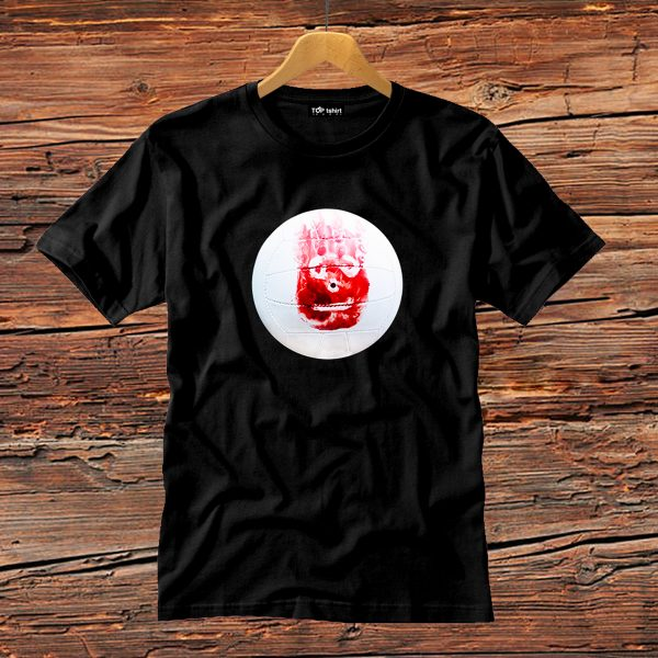 t-shirt nera uomo wilson cast away