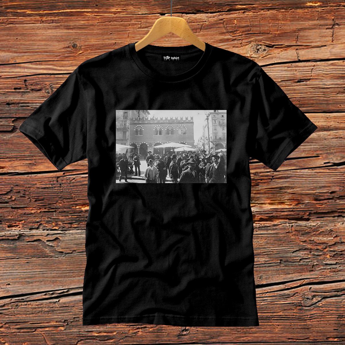 t-shirt nera uomo volti piazza erbe verona